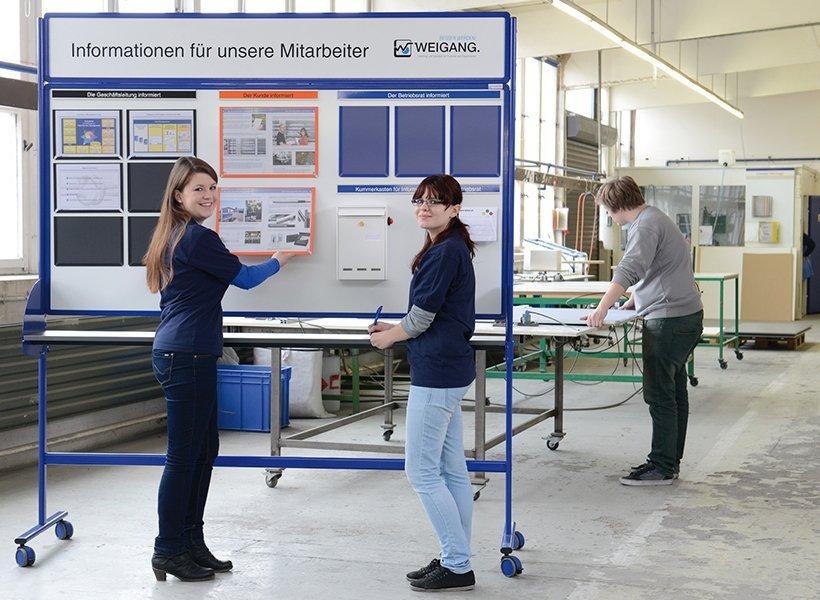 Menschen in der Produktion arbeiten mit einer WEIGANG Tafel.